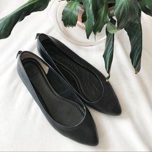 Frye Regina Black Leather Pointed Toe Ballet Flat
